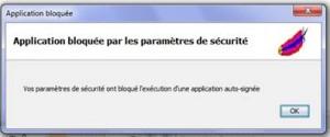 Application bloquée par les paramètres de sécurité