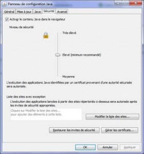 Modifier la sécurité de Java