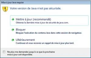 Votre version de Java n'est pas sécurisée